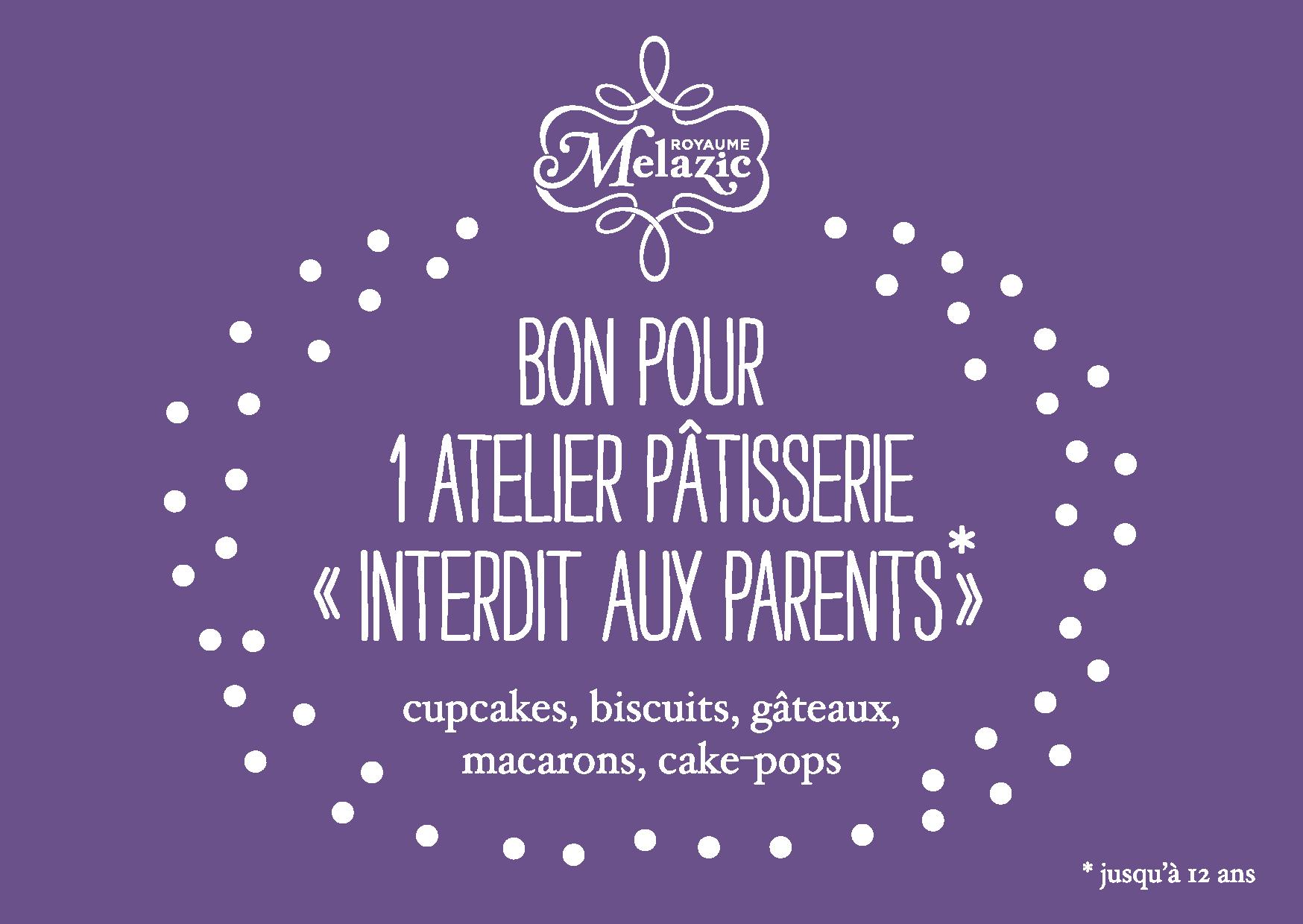 """Bon cadeau atelier """"Interdit aux parents"""""""